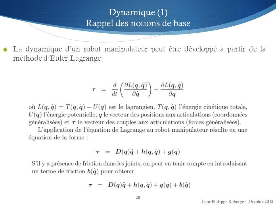 Dynamique (1) Rappel des notions de base