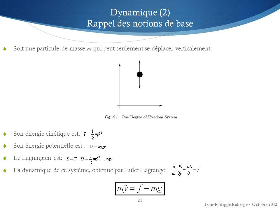 Dynamique (2) Rappel des notions de base