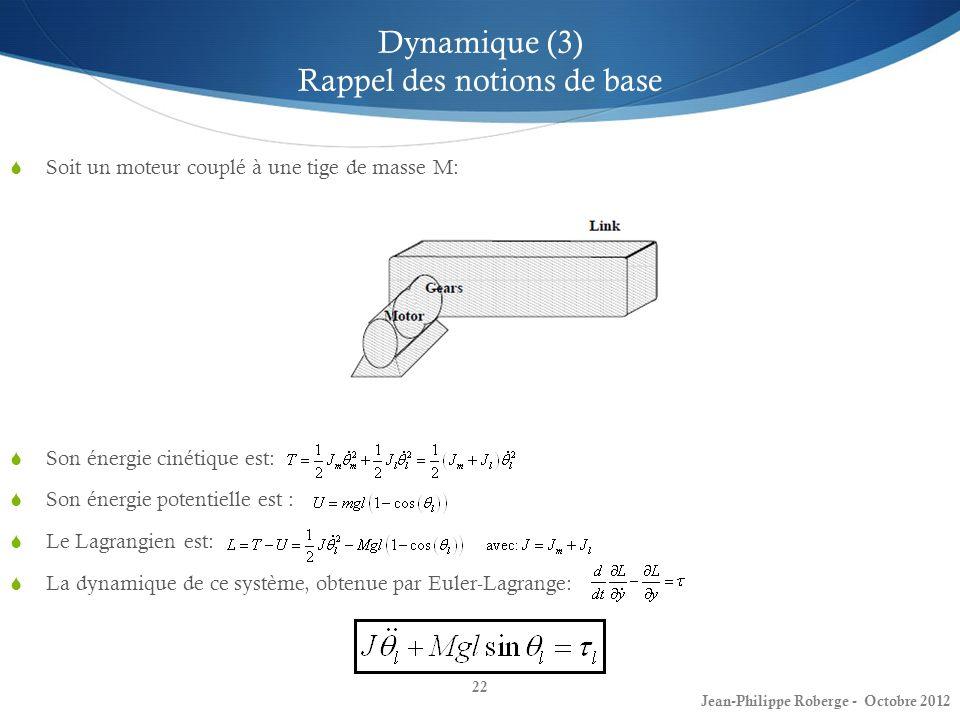 Dynamique (3) Rappel des notions de base