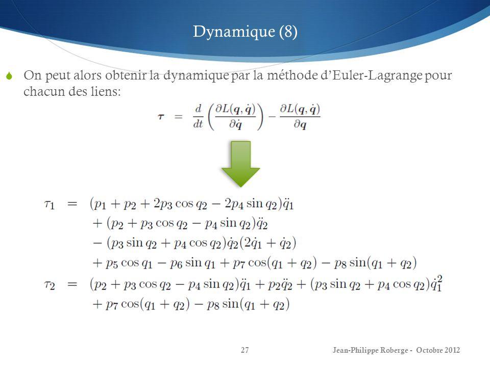 Dynamique (8) On peut alors obtenir la dynamique par la méthode d'Euler-Lagrange pour chacun des liens:
