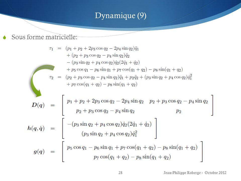 Dynamique (9) Sous forme matricielle: