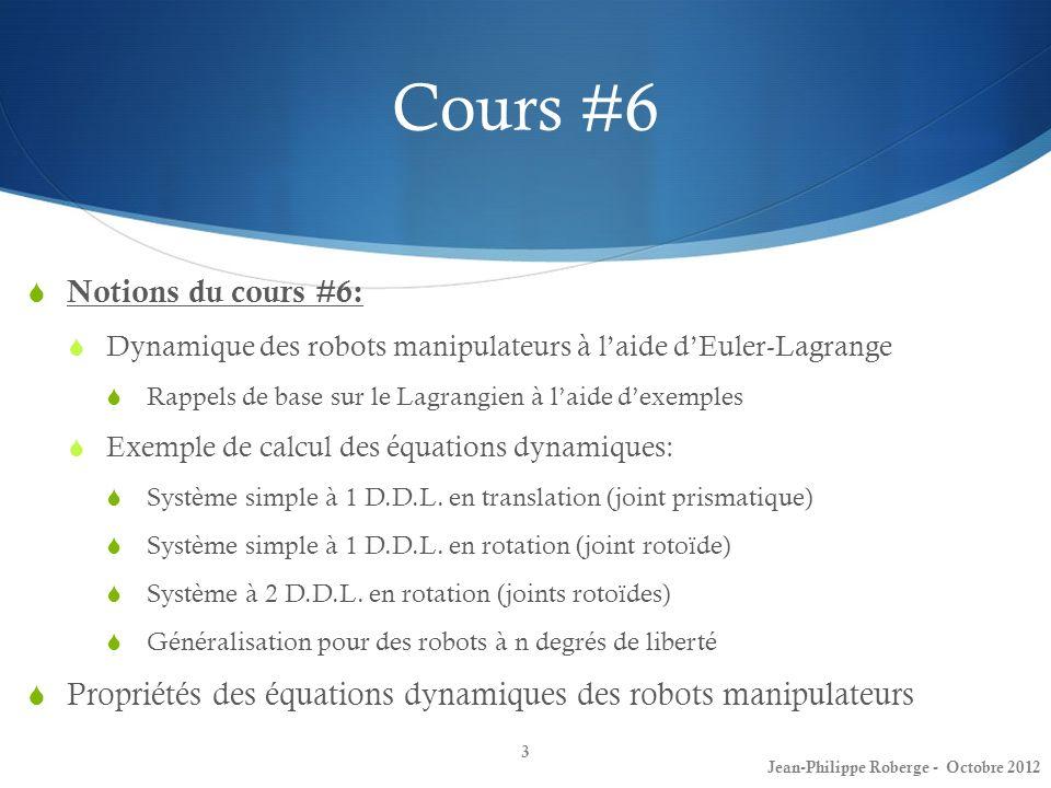 Cours #6 Notions du cours #6: