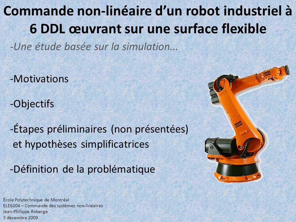 Commande non-linéaire d'un robot industriel à 6 DDL œuvrant sur une surface flexible