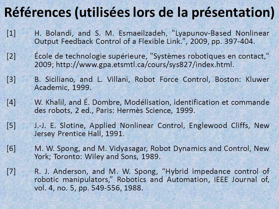 Références (utilisées lors de la présentation)