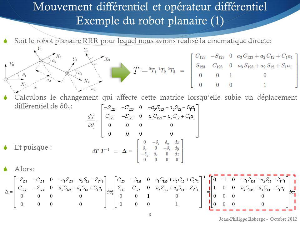 Mouvement différentiel et opérateur différentiel Exemple du robot planaire (1)
