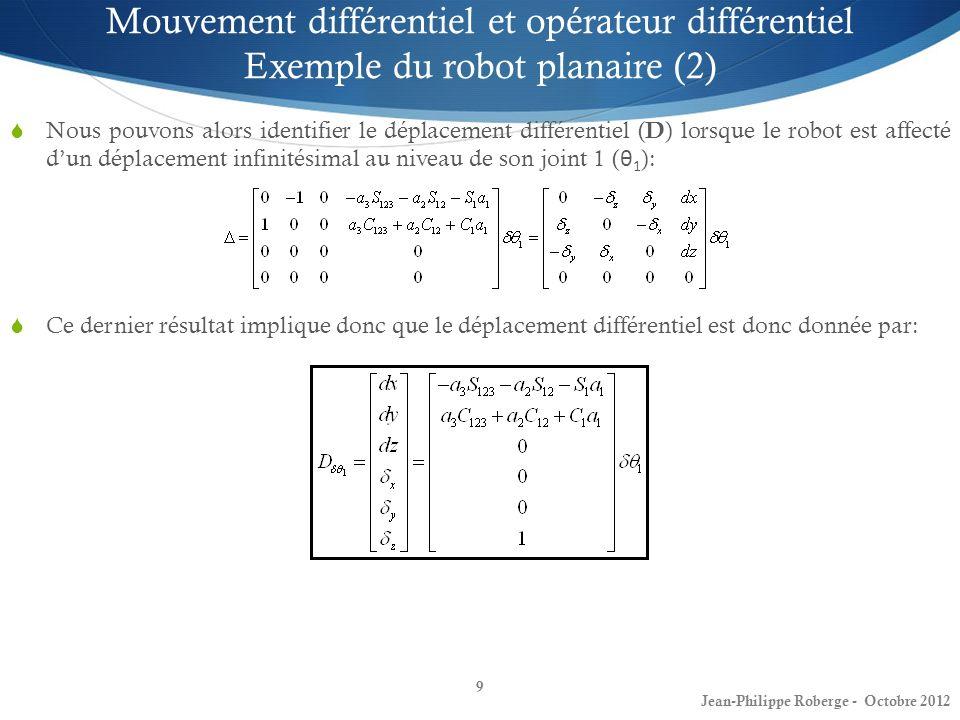 Mouvement différentiel et opérateur différentiel Exemple du robot planaire (2)