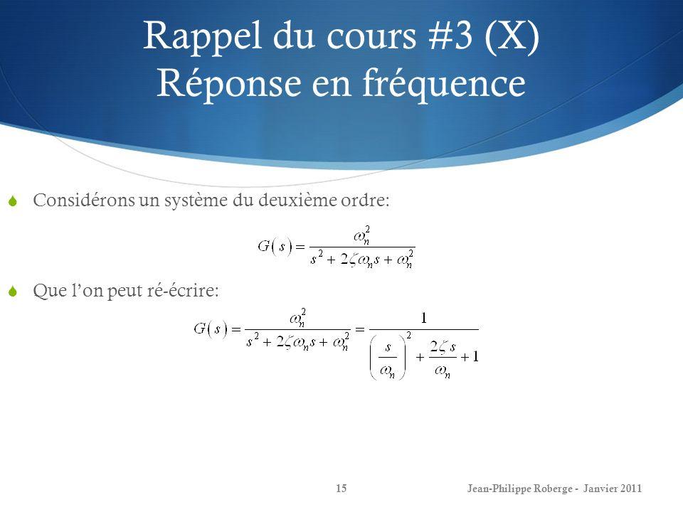 Rappel du cours #3 (X) Réponse en fréquence