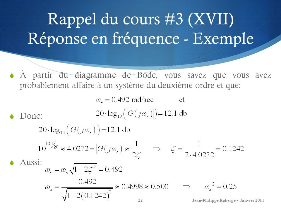 Rappel du cours #3 (XVII) Réponse en fréquence - Exemple