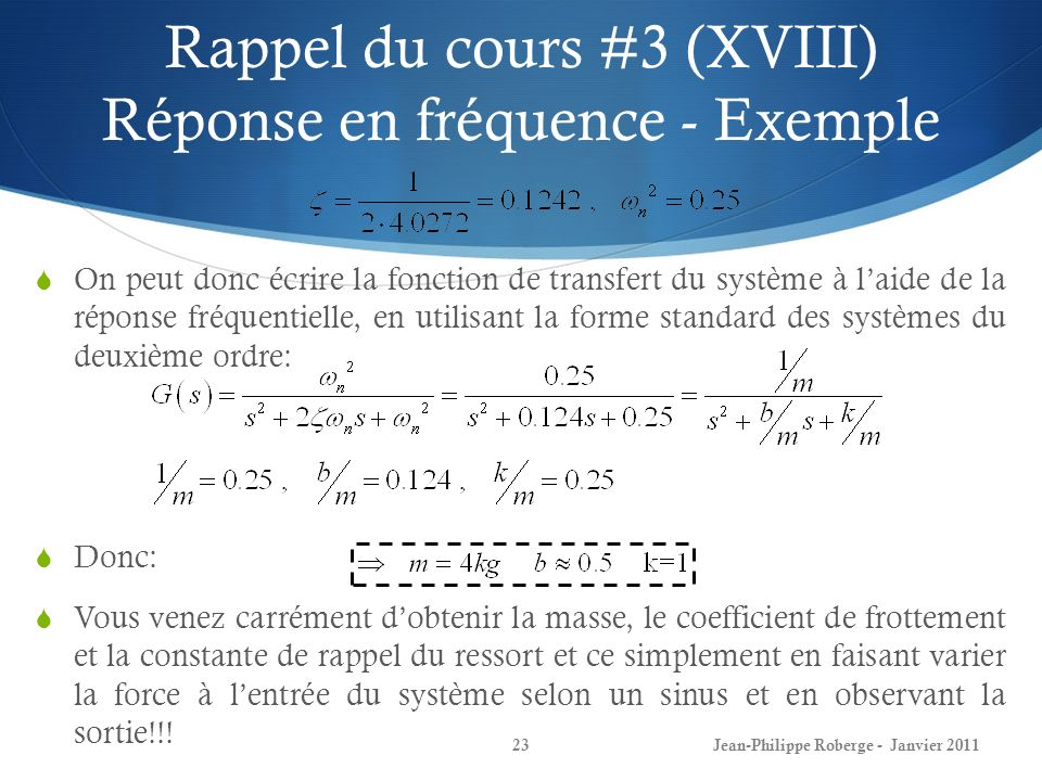 Rappel du cours #3 (XVIII) Réponse en fréquence - Exemple