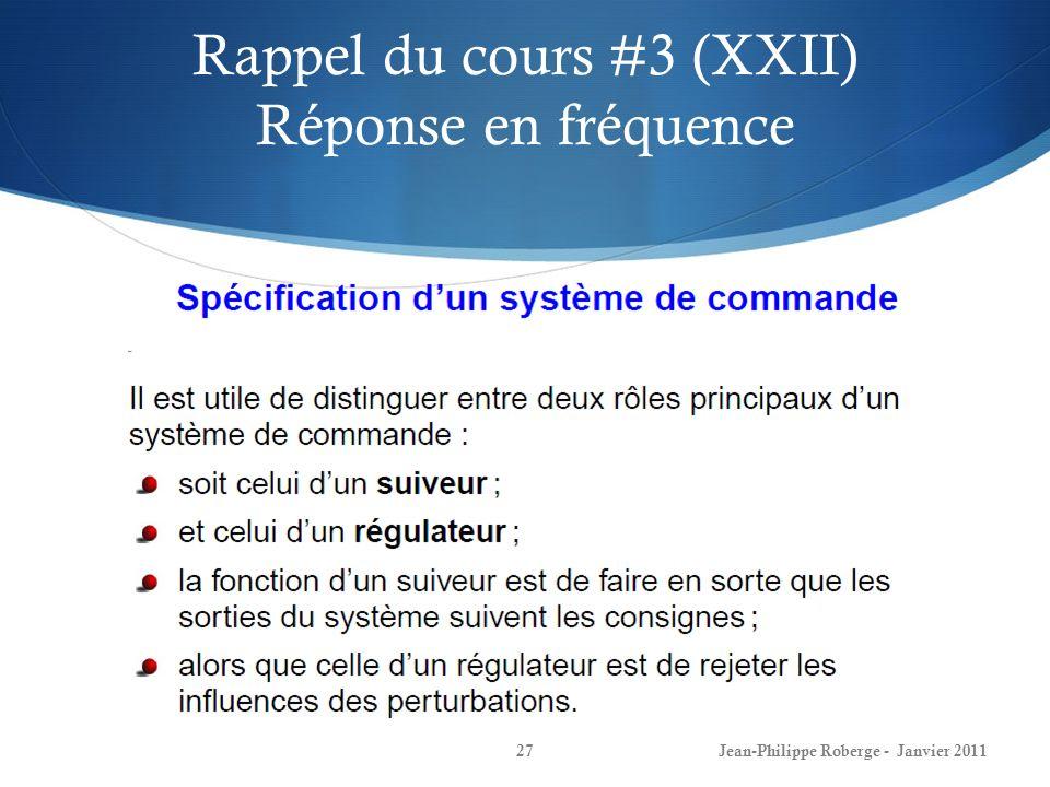 Rappel du cours #3 (XXII) Réponse en fréquence
