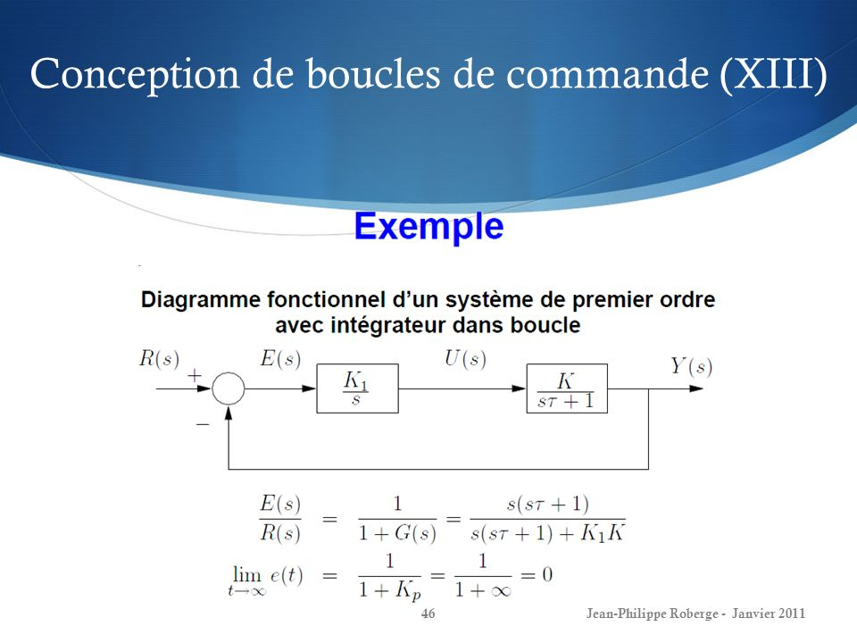 Conception de boucles de commande (XIII)
