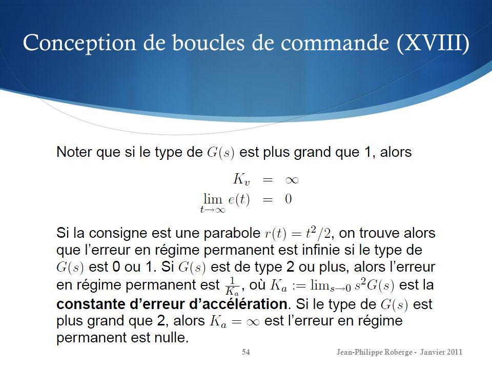 Conception de boucles de commande (XVIII)