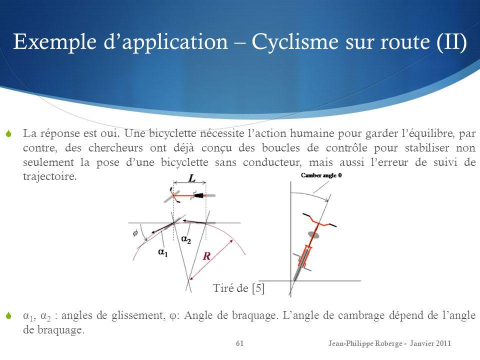 Exemple d'application – Cyclisme sur route (II)