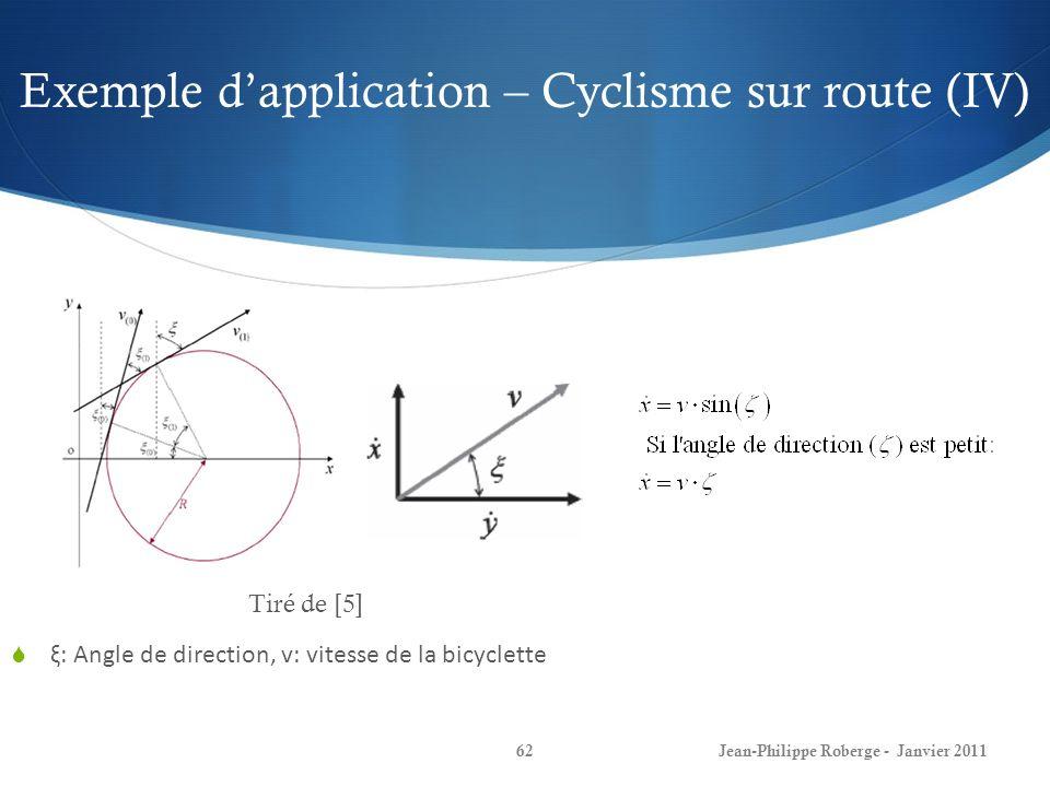 Exemple d'application – Cyclisme sur route (IV)