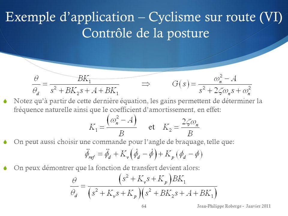 Exemple d'application – Cyclisme sur route (VI) Contrôle de la posture
