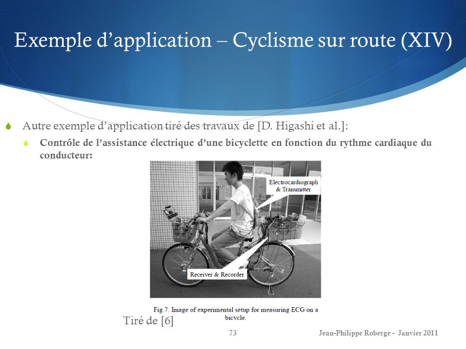 Exemple d'application – Cyclisme sur route (XIV)