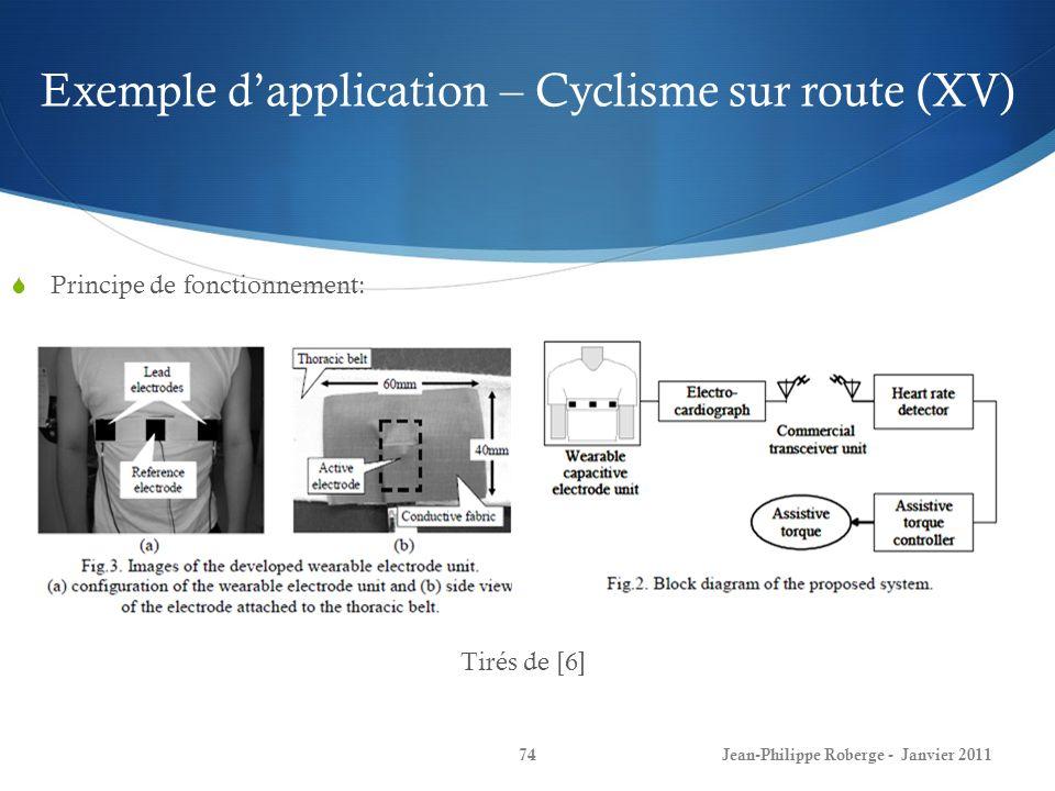 Exemple d'application – Cyclisme sur route (XV)
