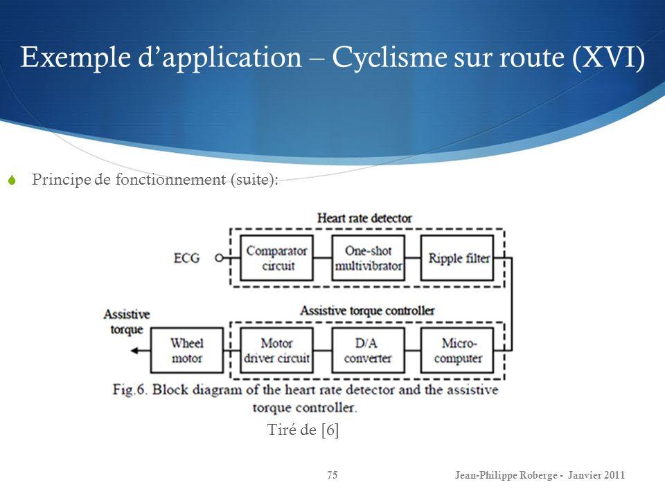 Exemple d'application – Cyclisme sur route (XVI)