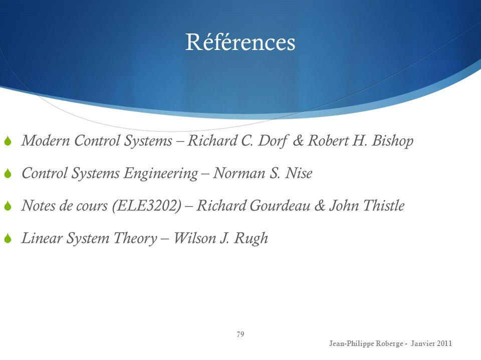 Références Modern Control Systems – Richard C. Dorf & Robert H. Bishop