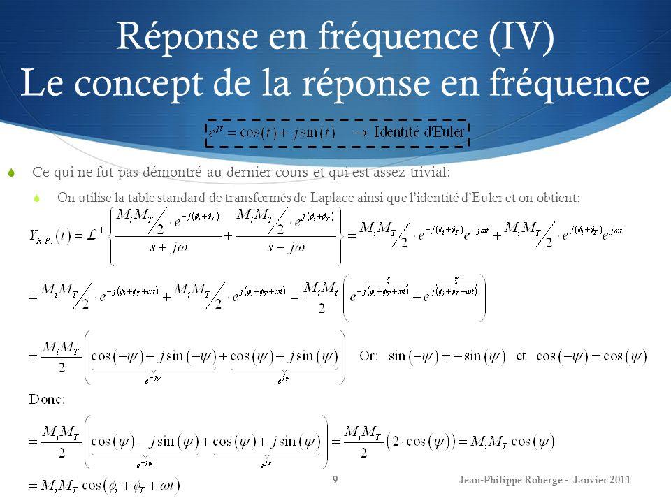 Réponse en fréquence (IV) Le concept de la réponse en fréquence