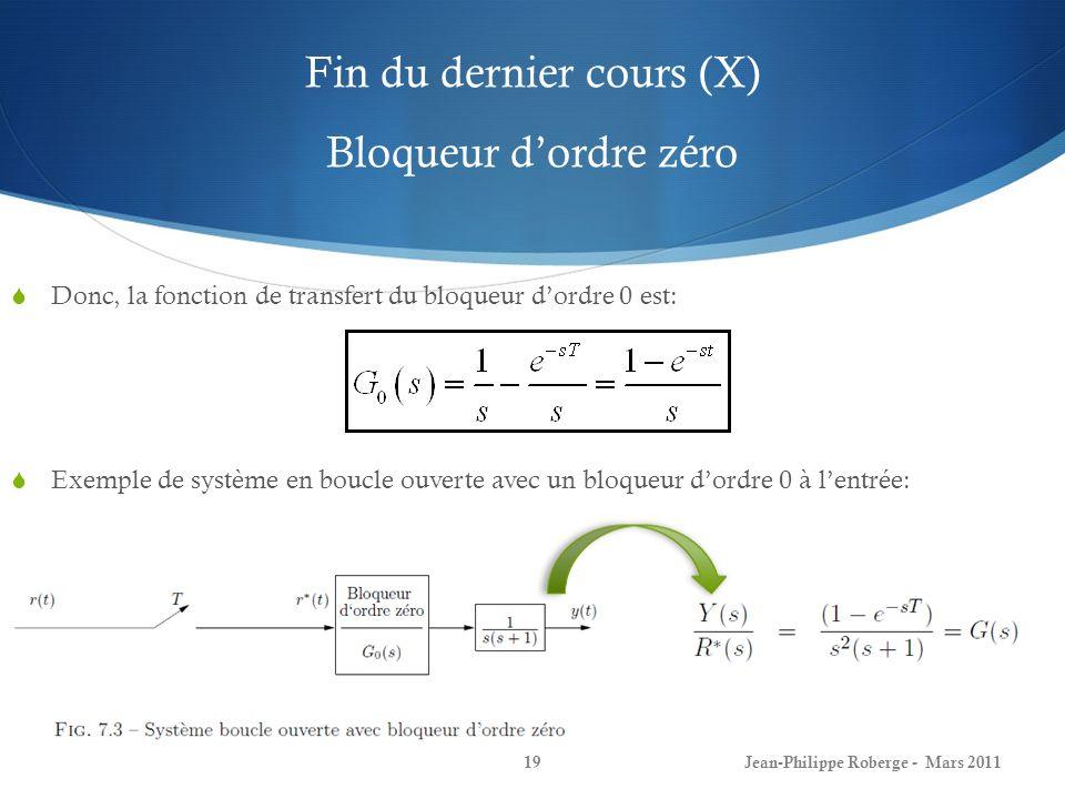 Fin du dernier cours (X) Bloqueur d'ordre zéro
