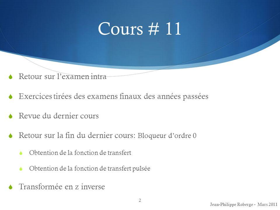 Cours # 11 Retour sur l'examen intra