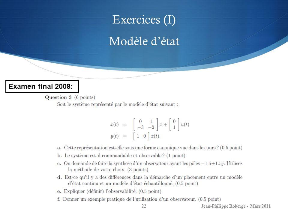 Exercices (I) Modèle d'état