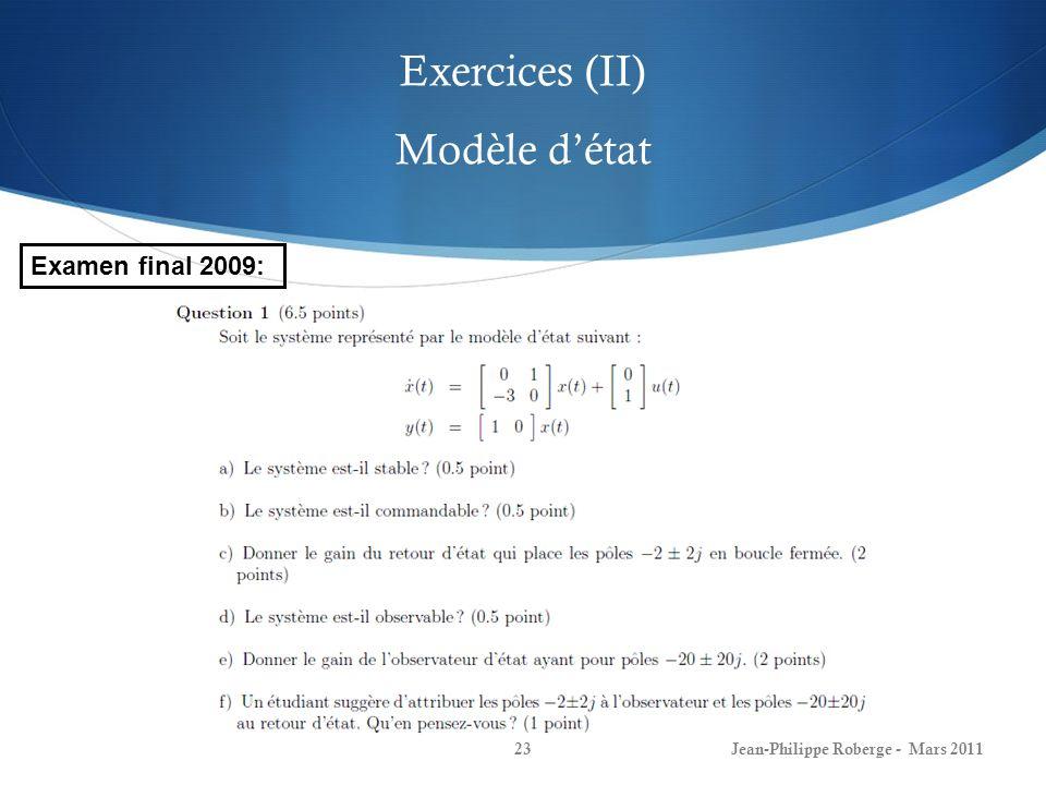 Exercices (II) Modèle d'état