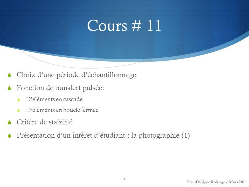 Cours # 11 Choix d'une période d'échantillonnage
