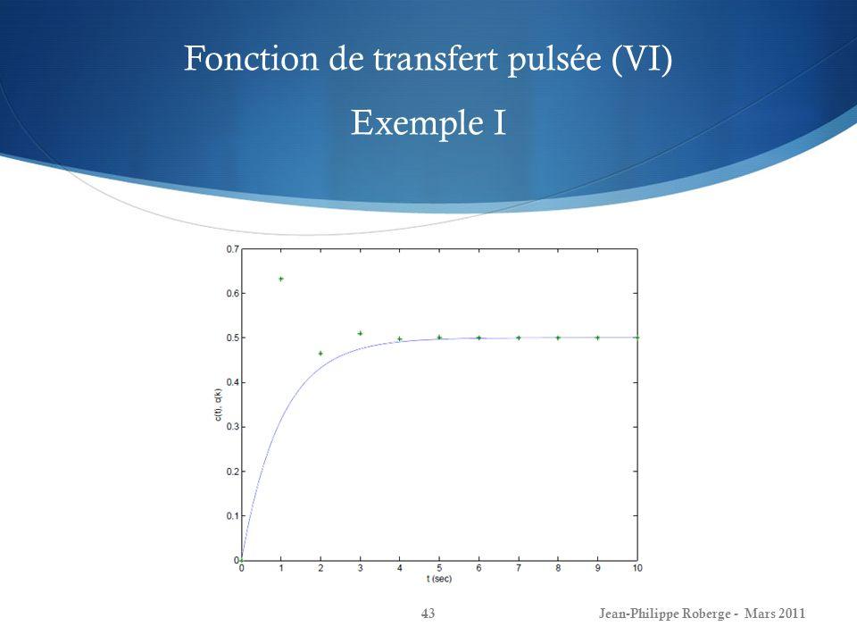 Fonction de transfert pulsée (VI) Exemple I