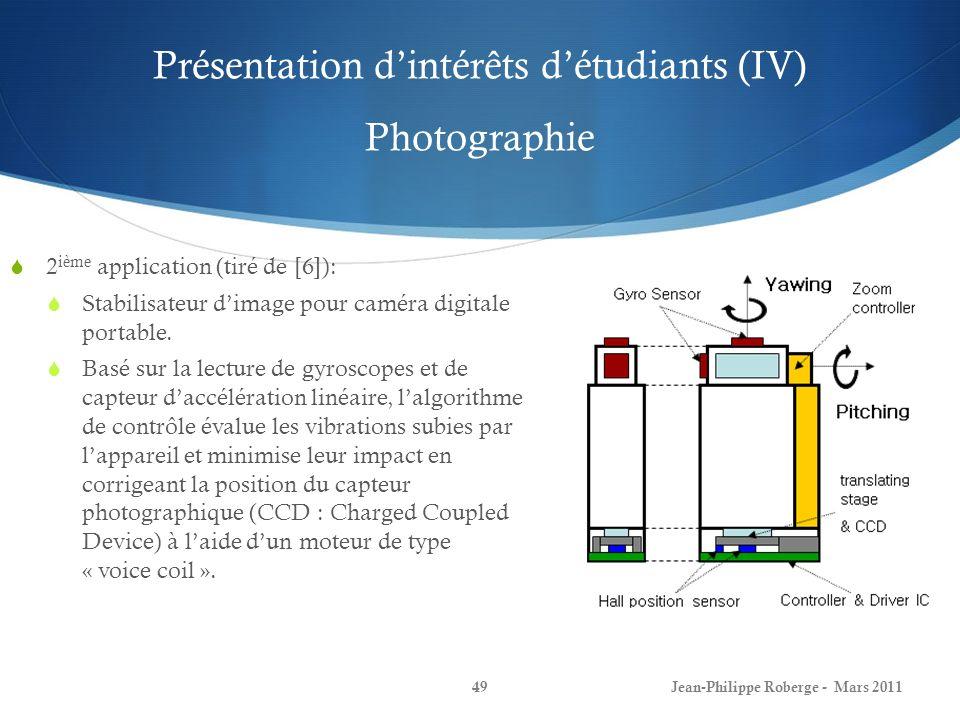 Présentation d'intérêts d'étudiants (IV) Photographie