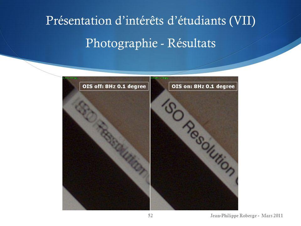 Présentation d'intérêts d'étudiants (VII) Photographie - Résultats