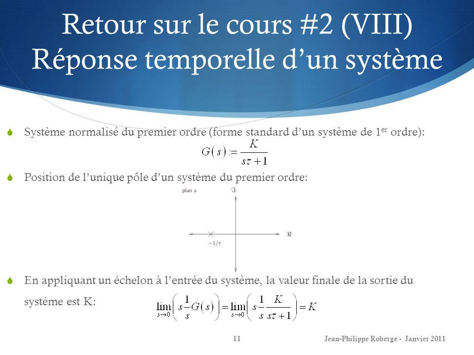 Retour sur le cours #2 (VIII) Réponse temporelle d'un système
