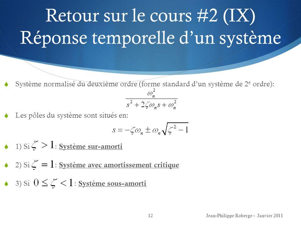 Retour sur le cours #2 (IX) Réponse temporelle d'un système