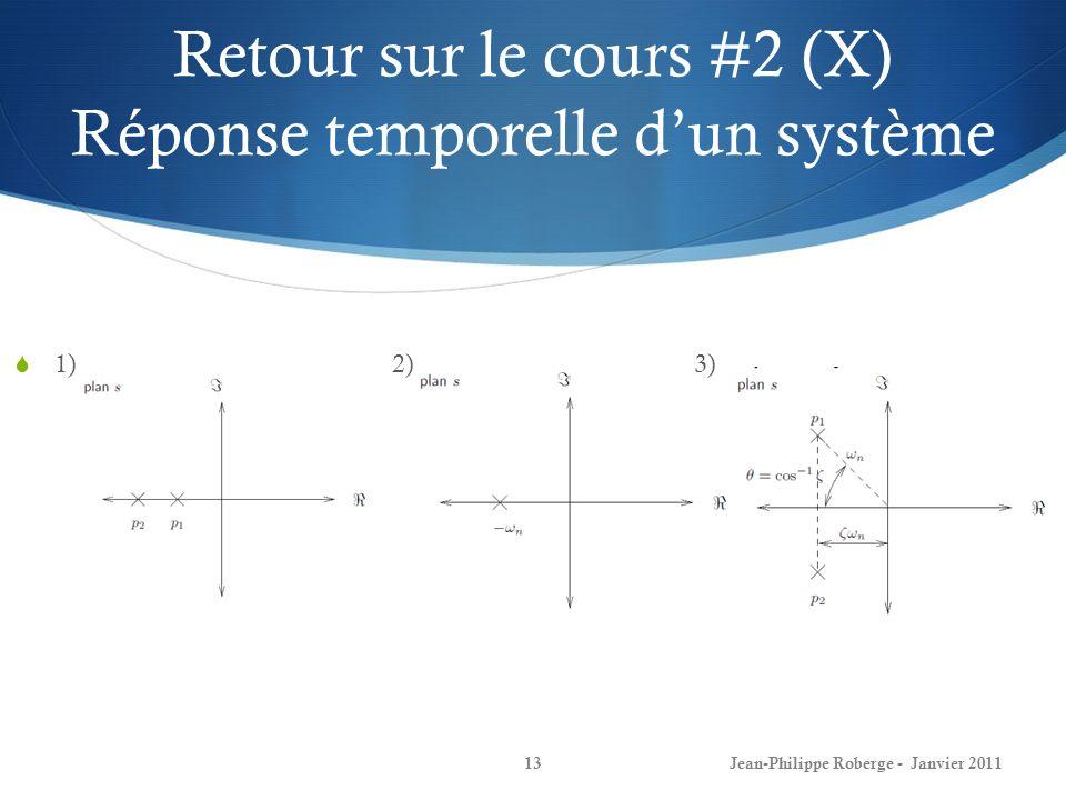 Retour sur le cours #2 (X) Réponse temporelle d'un système