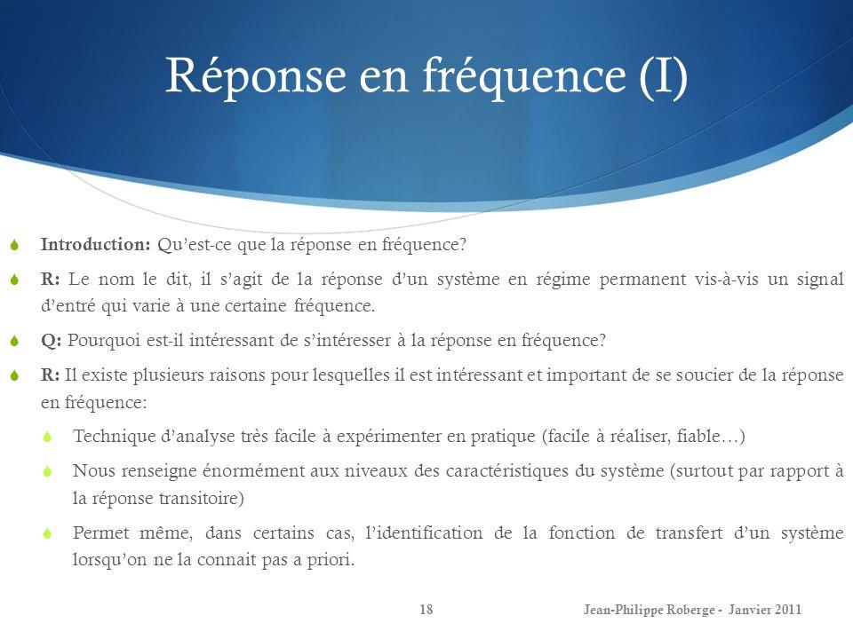 Réponse en fréquence (I)
