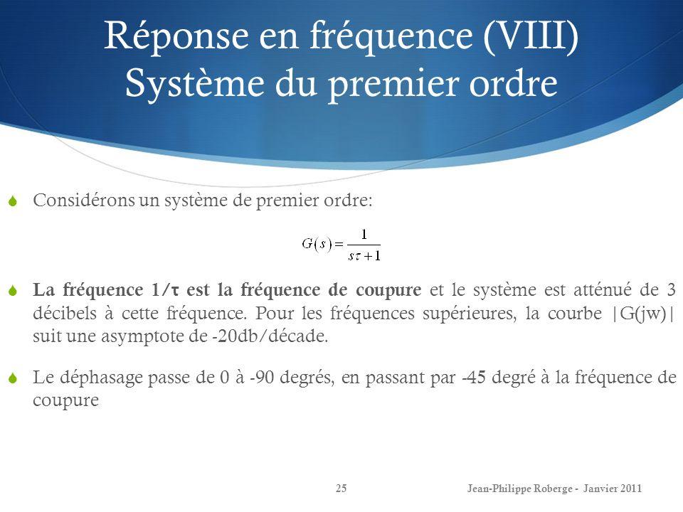 Réponse en fréquence (VIII) Système du premier ordre