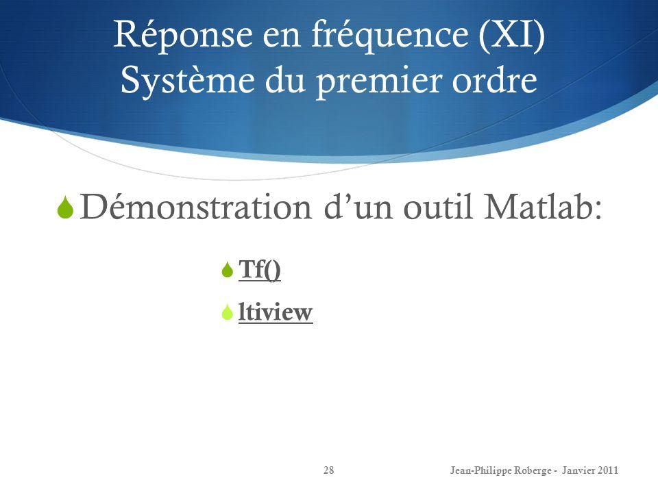 Réponse en fréquence (XI) Système du premier ordre