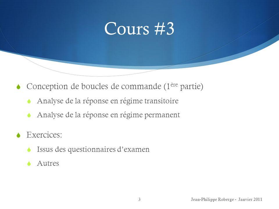 Cours #3 Conception de boucles de commande (1ère partie) Exercices: