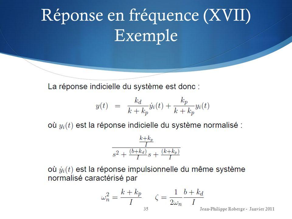 Réponse en fréquence (XVII) Exemple