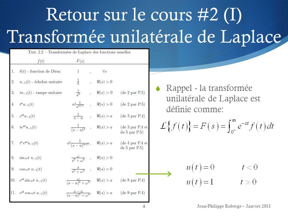 Retour sur le cours #2 (I) Transformée unilatérale de Laplace