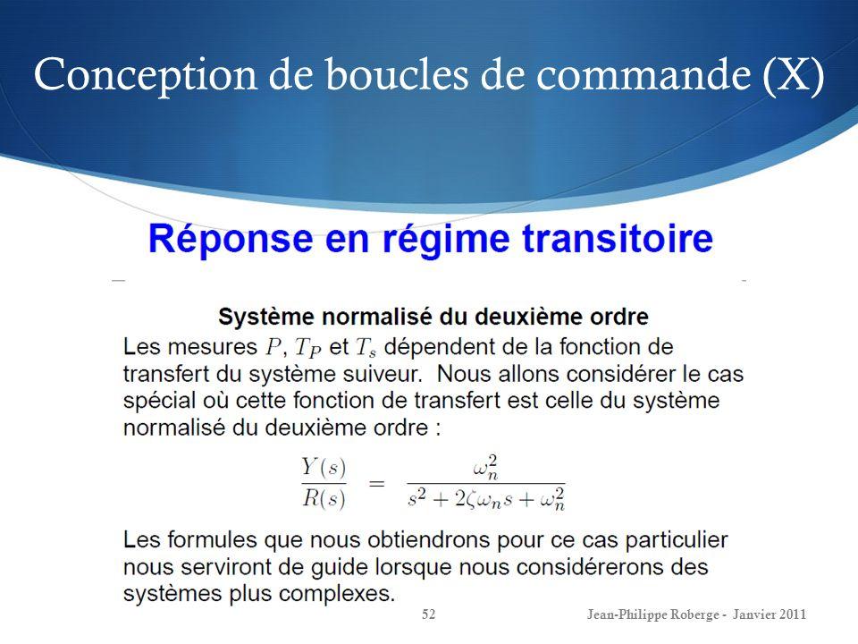 Conception de boucles de commande (X)