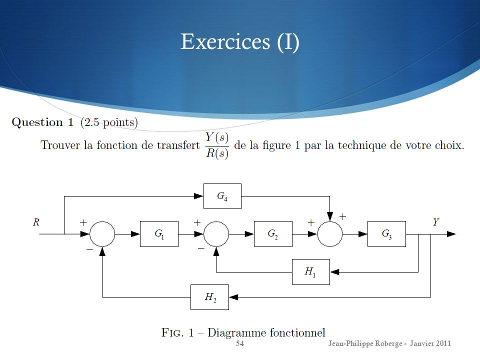 Exercices (I) Jean-Philippe Roberge - Janvier 2011