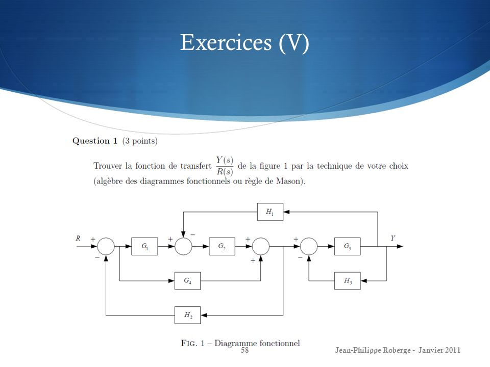 Exercices (V) Jean-Philippe Roberge - Janvier 2011