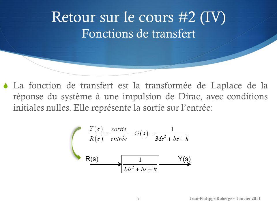 Retour sur le cours #2 (IV) Fonctions de transfert
