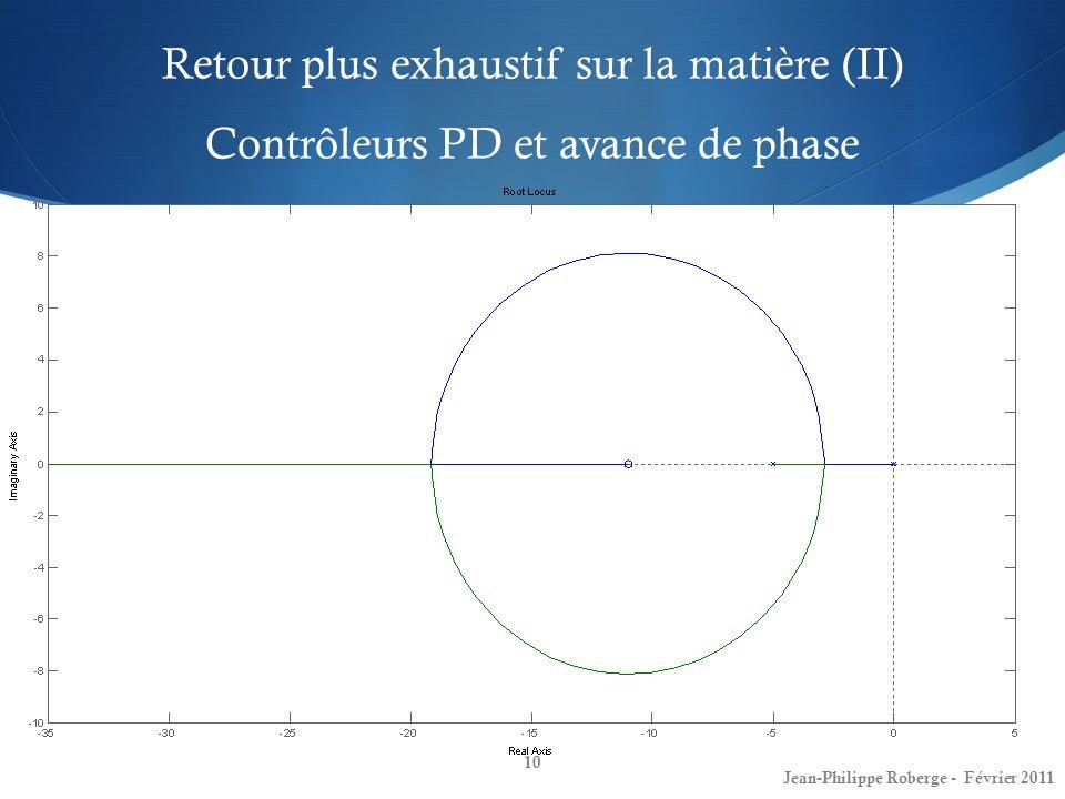 Retour plus exhaustif sur la matière (II) Contrôleurs PD et avance de phase