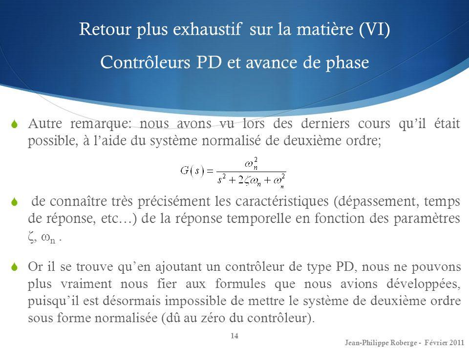 Retour plus exhaustif sur la matière (VI) Contrôleurs PD et avance de phase