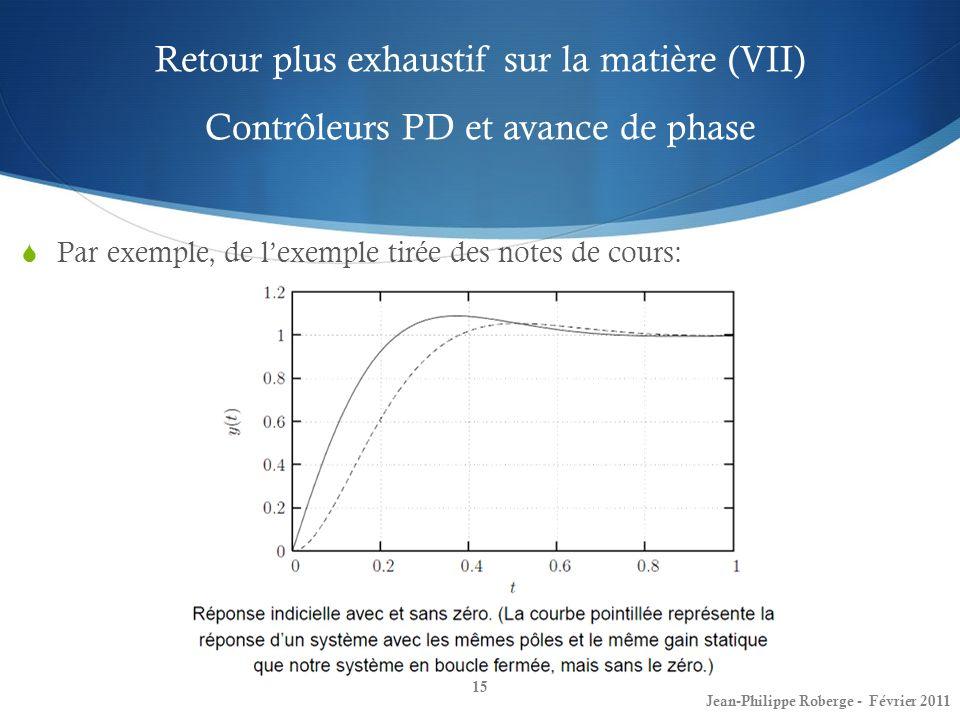 Retour plus exhaustif sur la matière (VII) Contrôleurs PD et avance de phase