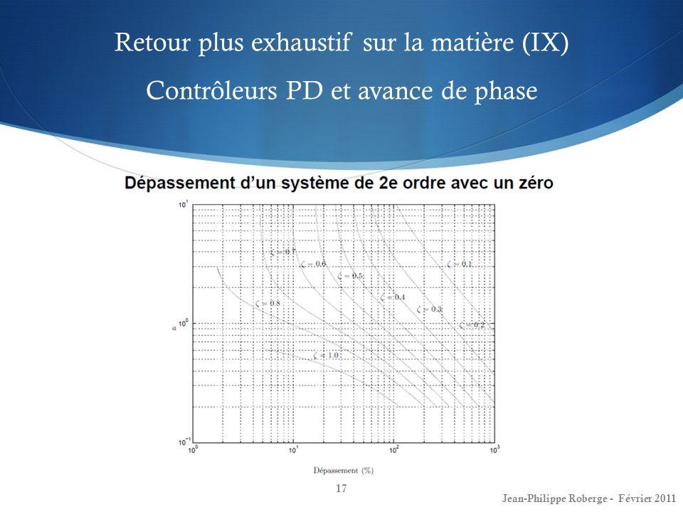 Retour plus exhaustif sur la matière (IX) Contrôleurs PD et avance de phase