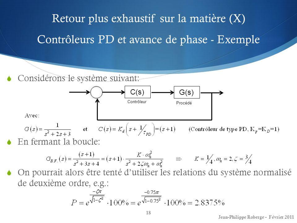 Retour plus exhaustif sur la matière (X) Contrôleurs PD et avance de phase - Exemple